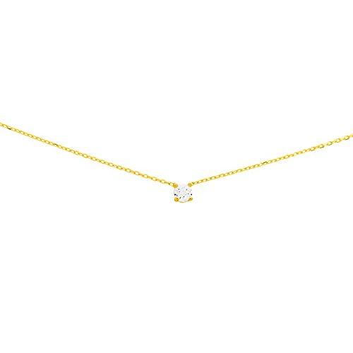 So Chic Bijoux © Collier Femme Chaîne 42 cm Solitaire Rond Serti Oxyde de Zirconium Blanc 3 mm Or Jaune 750/000 (18 carats)