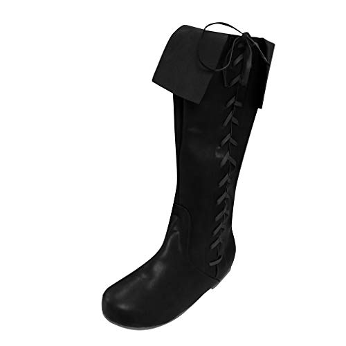 Women's Knee High Cowboy Western Boots   Ladies Lace Up Wide Width Western Boot Fashion Distressed Cowgirl Boots Shoes (10.5 M US, Black)