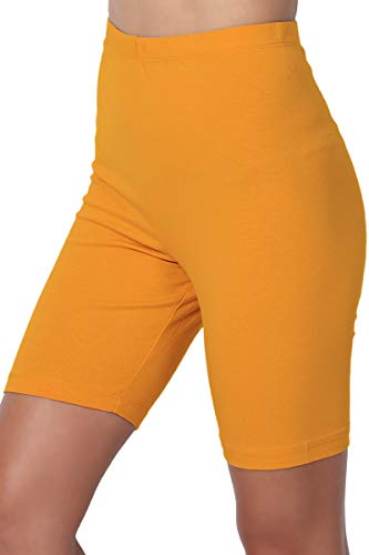 TheMogan Women's Mid Thigh Cotton High Waist Active Short Leggings D. Mustard S ()