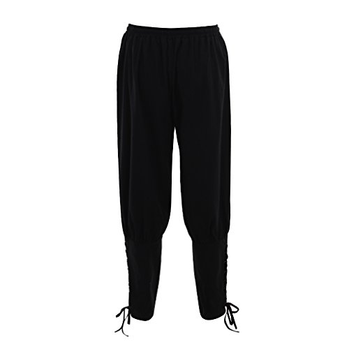 DUNHAO COS Men's Medieval Pants Viking Trousers Costume Black L -