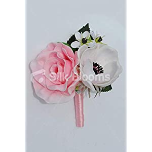 Silk Blooms Ltd Artificial Fresh Touch Pale Pink Rose and Anemone Double Buttonhole w/Pale Pink Ribbons 95