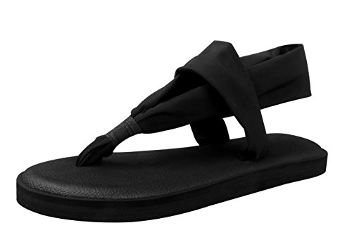 Costumes Los 1920's Angeles (Passionow Women's Comfort Summer Lightweight Yoga Mat Thong Slingback Flip Flop Flat Sandals (Black, 6)