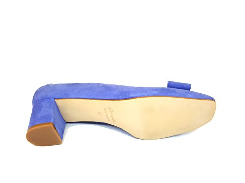 Claro Mujer Ante Piel Gennia y Zapatos para LENLAZO Cuadrada de Jeans Cerrada Color Tacon 39 Lazo Punta Talla con Iris OTBPq