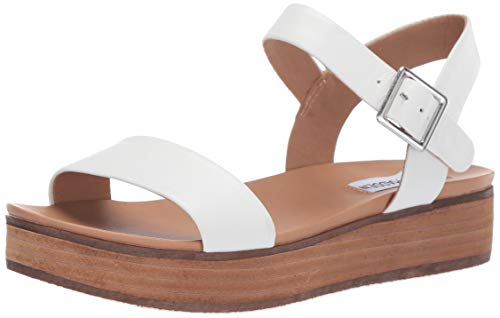 (Steve Madden Women's AIDA Sandal, White Leather, 10 M US)