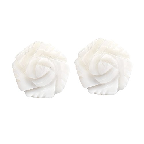 Elegant White Rose Carved from Mother of Pearl Stud Earrings