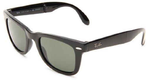 Ray-Ban RB4105 Folding Wayfarer Sunglasses Black/Crystal Green Polarized 50mm