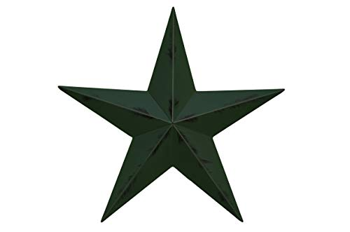 AMISH WARES 24 Inch Rustic Hunter Green Barn Star Galvanized Metal Tin Painted Barn Star Farmhouse Country Decor Rust Resistant Outdoor Decor ()
