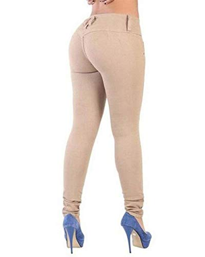 Mezclilla Casual Khaki Battercake Flaco Casuales Color Estiramiento Pantalones De Lápiz Cintura Botón Las Sólido Jeans Delantero Mujeres Alta qBRE4B