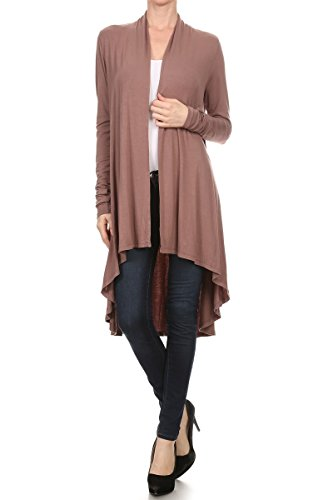 ReneeC. Women's Natural Bamboo Super Soft Open Front Long Cardigan - Made in USA (X-Large, Coco)