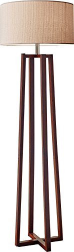Adesso Quinn Floor Lamp - Free Standing Lamp - 60 In. Walnut Wood Finished Pole Lamp. Decorative Lighting Fixtures - Decorative Pole Lighting
