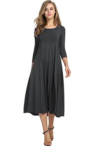 Hotouch Long Sleeve Basic Midi Shirt Dress (Dark Gray M) ()