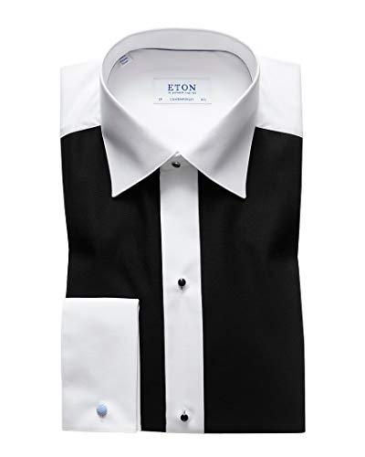 Eton Mens Contemporary Fit Dress Shirt, 42 Black/White