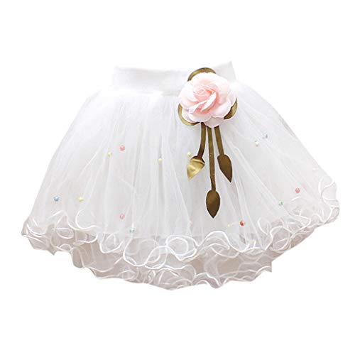 WUAI Baby Girls Tutu Skirts Layered Tulle Birthday Princess Dance Party Floral Dresses (White,2-3 Years)