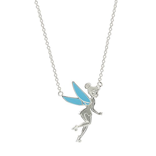 Disney Tinkerbell Jewelry - Disney Tinkerbell Jewelry for Women and Girls, Silver-Plated and Enamel Necklace, 18