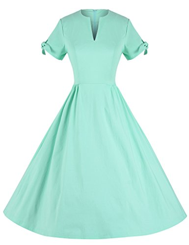 GownTown-Womens-1950s-Retro-Vintage-Short-Sleeve-Party-Swing-Dress