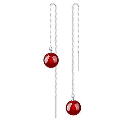 10 Mm Bead Drop (KOREA-JIAEN Ear Line S925 Sterling Silver Earrings 10mm Pure Natural Red Agate Bead Charm Earrings (Red agate))