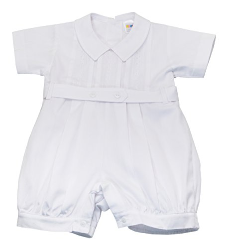Karela White Christening Baby Boy Romper. Beautiful Elegant Details. Back Buttoned Closure. White Belt and Snaps Between Legs (12 mo)
