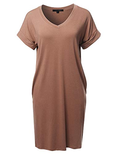 Awesome21 Solid Short Sleeve Stretchy Loose fit V-Neck Tunic Dress Taupe Size S