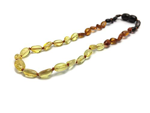 11 Inch Baltic Amber Teething Necklace Polished Rainbow Light Front, Cherry, Cognac Lemon Bean Infant Baby Drooling Pain Growing Pain Natural Certified 100% Pure -  Baltic Essentials, P-Rainbow-Dk-Bk-11
