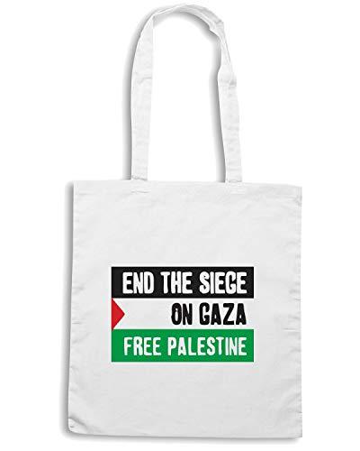 GAZA END Borsa Speed SIEGE Shirt TM0550 Shopper Bianca FREE PALESTINE gq0qXw