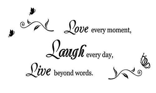 Love Every Moment, Laugh Every Day, Live Beyond Words Wall Decal Removable Sticker Bathroom Home Decor