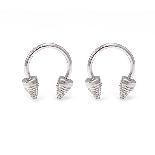 EG GIFTS Circular Barbell Spiral Spike Horseshoe Surgical Steel 14G Set of 2