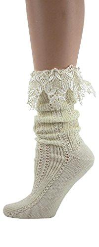 - Foot Traffic - Women's Slouch Lace Socks, Ivory