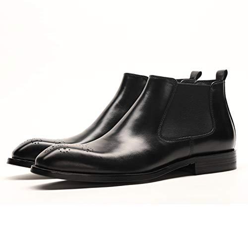 Qiusa Slip on Chelsea Stiefel para Hombre Soft Sole Durable Antideslizante Stiefel de Cuero Genuino (Farbe   schwarz, tamaño   EU 43)