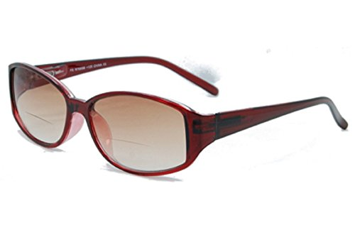 The Key West Stylish BIFOCAL Reading Sunglasses - Comfortable Lightweight Trendy Simple Sun Readers Glasses RX Magnification + 2.25 Burgundy (Microfiber Cleaning Carrying Case - West Sunglasses Key