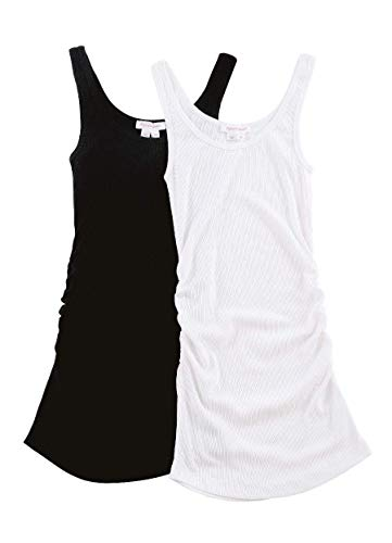 - Ingrid & Isabel Women's Maternity Side Shirred Rib Tank 2 Pack, Black/White, Small