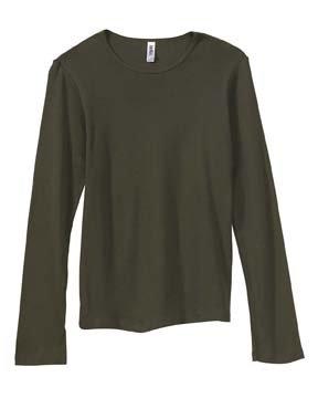 Bella Canvas Ladies' Baby Rib Long-Sleeve T-Shirt - ARMY - M