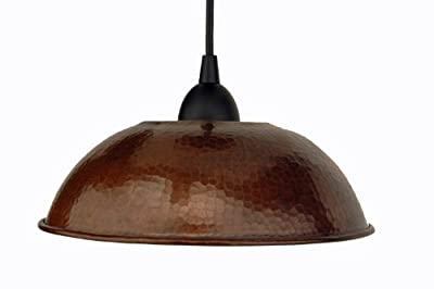 Premier Copper Products Hand Hammered Copper Dome Pendant Light, Oil Rubbed Bronze