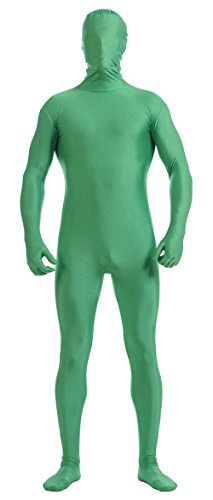 Ensnovo Mens Full Body Tights Suit Costumes Lycra Spandex Zentai Bodysuit Green, M ()