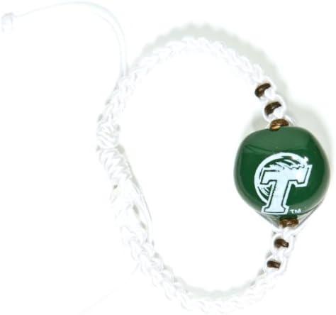 NCAA Tulane Green Wave Go Nuts Kukui Nut Macrame Bracelet