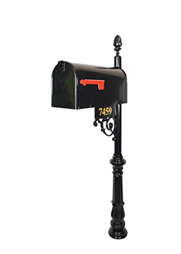 (The Essex Standard Black Mailbox with Address Plaque, Flag, and Numbers Included. Complete Luxury Mailbox and Post Combo Kit with Beautiful, Unique, Classic, Traditional, Decorative Features.)