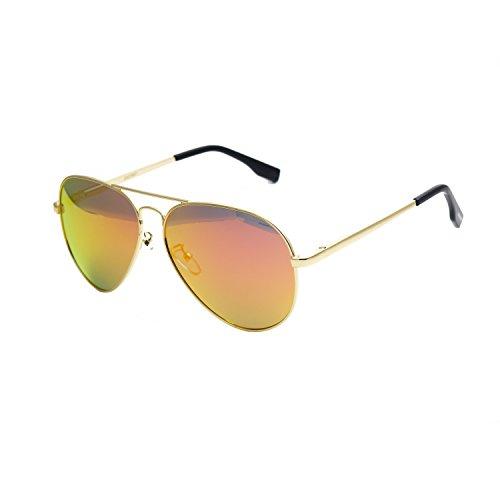 Zacway Polarized Spring Hinges Metal Aviator Sunglasses For Men Women UV400 58mm (Gold Frame/Mirror Orange Lens, 58)