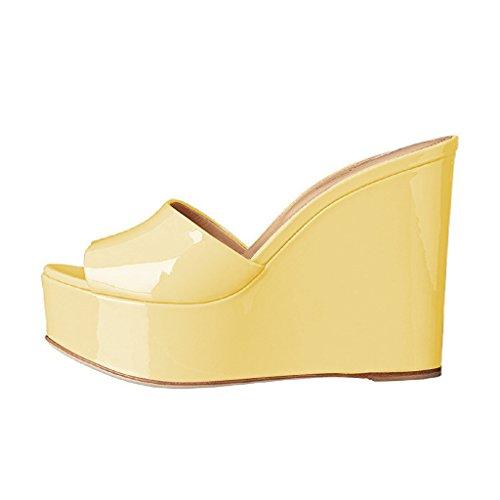 ea885c899852a YDN Women High Heels Platform Mules Peep Toe Clogs Slip on Wedge Sandals  Slide Shoes