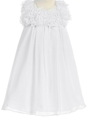 Little Girls Elegant Chiffon Floral Baby Doll Flowers Girls Dresses White 2 (Doll Top Baby Tiered)