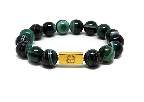 Green Striped Agate and Gold Beads Bracelet, men's Luxury Beads Bracelet