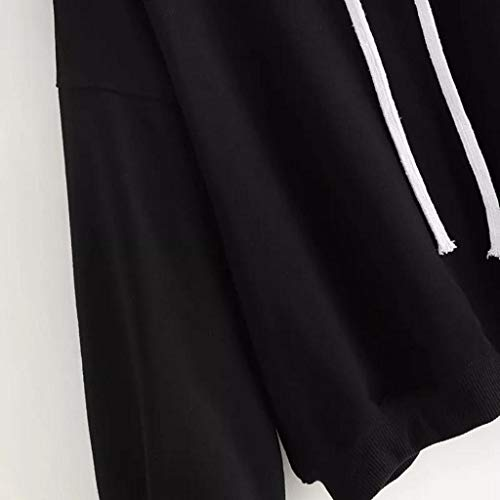 Tops Femme Noir Capuche Outwear Sweat Solide Manche Trydoit Femmes Chemise Hiver Automne Blouse Longue wvCHU0q