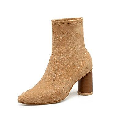 de 5 RTRY de de tacón Botines grueso CN35 US5 cerrado Botas Talón 5 EU36 UK3 moda Cuero otoño Zapatos casual Talón de mujer invierno de nubuck Botines Botas cónico para 4r6q5rOI