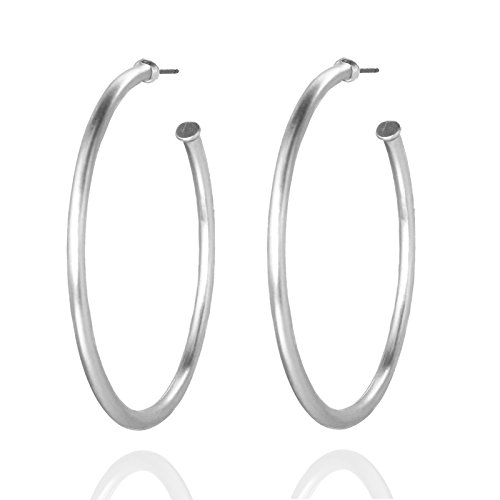 Round Classic Hoop Earrings (Silver) (Classic Hoop Design)