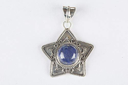Lapis Lazuli Pendant, 925 Sterling Silver, Cabochon Stone Jewelry, Star Shaped Pendant, Hottest Styles Jewelry, Ultimate Pendant, Healing Crystal, Natural, Best Quality Pendant, Shiny Stone