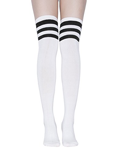 TooPhoto Over Knee Socks Thigh High Stockings Tube Cotton Women Dresses Campus B1 White