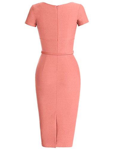 MUXXN 1950s Retro Cuello Redondo Corta Mangas Vestido Lápiz Pink