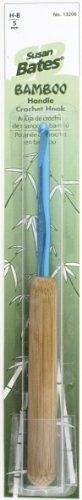 Susan Bates 5-1/2-Inch Bamboo Handle Silvalume Head Crochet Hook, 5mm, Turquoise - Bamboo Handle Crochet Hooks