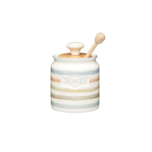 Kitchencraft Class Collection Striped Ceramic Honey Pot With Wooden Dipper, one of the favorite honey gifts, 450