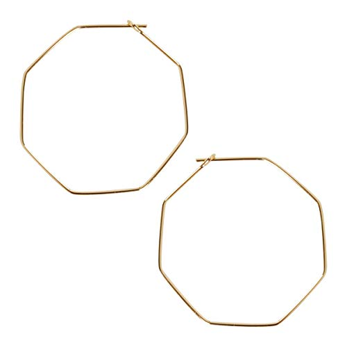 Humble Chic Octagon Hoop Earrings for Women - Hypoallergenic Lightweight Open Wire Threader Drop Dangles, 18K Yellow Octagon, Gold-Electroplated, 1.4 inch