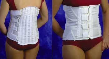 Back Support - Large Lumbrosacral Support 15'' back panel with 2 rigid stays and 2 anti roll stays. Side panels have mesh and elastic expansion pieced. The front is poly cotton with anti roll stays. 4 alternating pull straps. Hook & loop closure. White. by King Products
