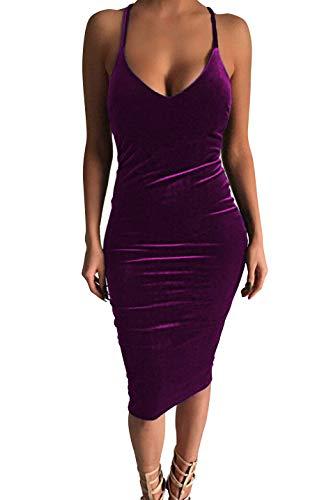Dress Purple Velvet - Carprinass Women's Sleeveless Bodycon Midi Dress Velvet Club Bandage Dress Purple
